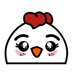 Isolated cute chicken face vector