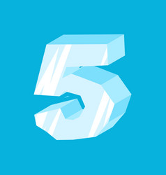 Number 5 ice icicles font five frozen alphabet vector