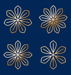 Set of simple round floral golden mandala vector