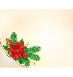 Corner Christmas banner with poinsettia vector image