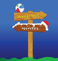 Summer and winter signboard color vector