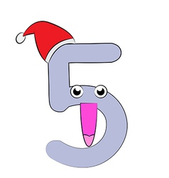 Number five christmas cartoon vector