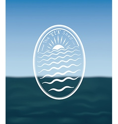 Vintage emblem on seascape vector