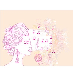 Hand drawn girl singing a song on a floral vector