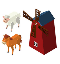 3d design for farm animals and windmill vector
