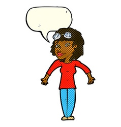 Cartoon woman wearing goggles with speech bubble vector