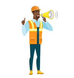 african-american builder making announcement vector image vector image