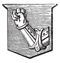 Arm with fist clenched is a dexter arm vambraced vector