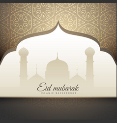 Beautiful eid mubrak greeting with mosque shape vector