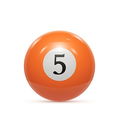 Billiard five ball isolated on a white background vector