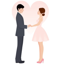 Bride and groom holding hands vector image