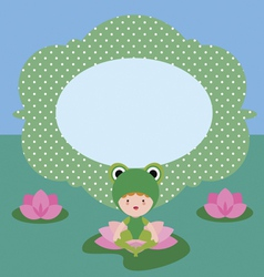 Card with cute flog character vector image vector image