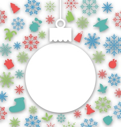 Christmas paper ball on texture with traditional vector