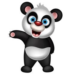 Cute panda cartoon presenting vector