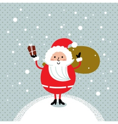 Cute retro Santa isolated on snowing background vector image