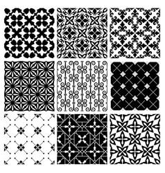 Decorative monochrome tile vintage patterns vector