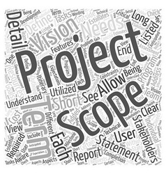 Defining a project scope word cloud concept vector