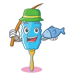 Fishing feather duster character cartoon vector