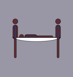 Flat icon design collection man on a stretcher vector
