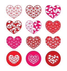Geometric red and pink heart for valentines day vector