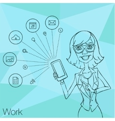Girl in business suit showing a smartphone screen vector