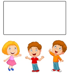 Happy children looking and pointing to blank banne vector