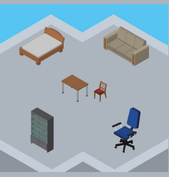 Isometric design set of sideboard couch chair vector