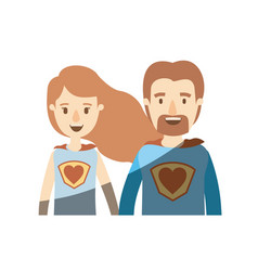 Light color shading caricature half body couple vector