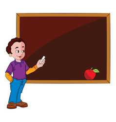 man using a chalkboard vector image