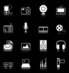 mass media icons vector image vector image