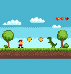 Old style pixel game on blue vector