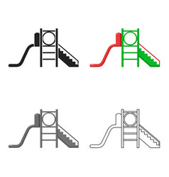 Playground slide icon in cartoon style isolated on vector
