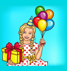pop art smiling little girl holding a gift vector image