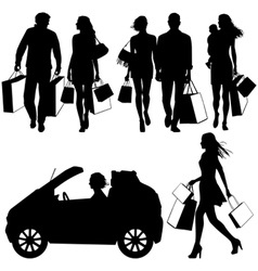several people shopping - silhouettes vector image vector image