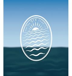 Vintage emblem on seascape vector