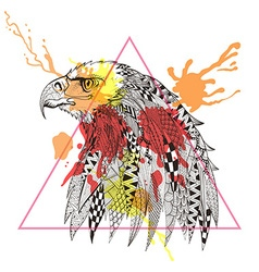 Zentangle stylized eagle in triangle frame with vector