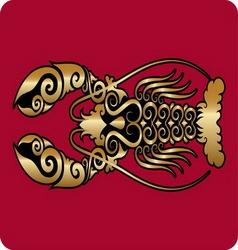 Golden lobster ornament vector image