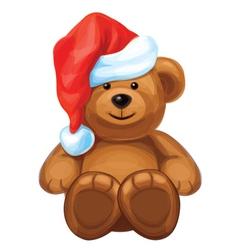 brown bear in red Santas hat vector image