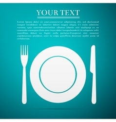 Platefork and knife flat icon on blue background vector image