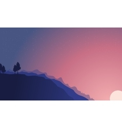Silhouette of hill at night and star landscape vector