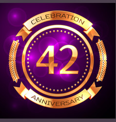 forty two years anniversary celebration with vector image