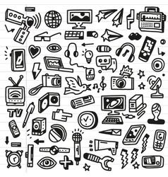 Mass media - doodles set vector