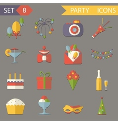 Retro flat birthday party celebrate icons and vector