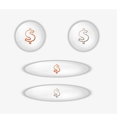 button with dollar currency symbol vector image