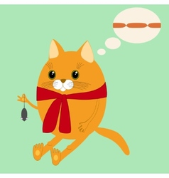 Image ginger cat in a scarf vector