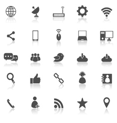 Network icons with reflect on white background vector