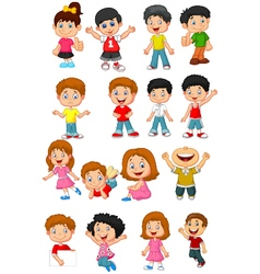 Happy kid cartoon collection vector