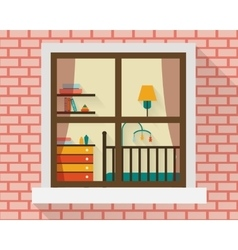 Baby room through the window vector