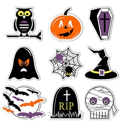 Halloween icons set in colour in label style vector