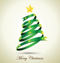 Green ribbon christmas tree with gold star vector